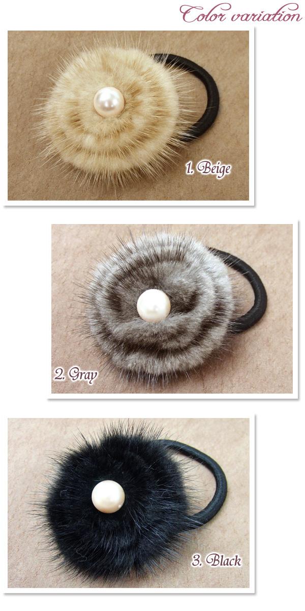 アップヘア、フルアップが簡単にできるパールとファーのヘアゴム