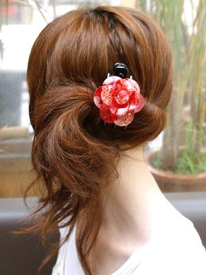 着物、浴衣まとめ髪も、お花のヘアクリップなら簡単!