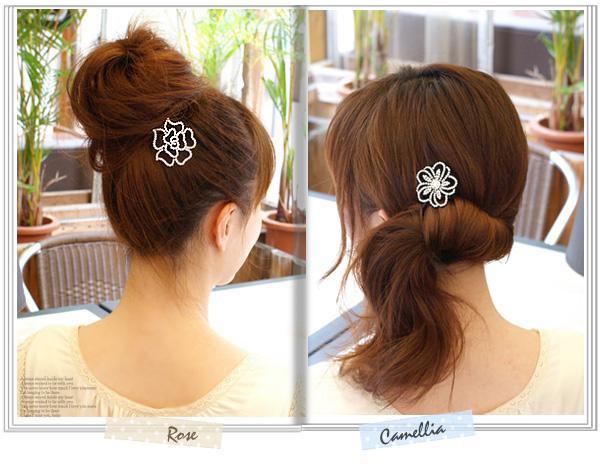 ふんわりお団子、サイドアップもお花の髪飾りなら簡単キレイ