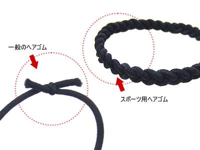 ヘアゴムの結び目が見えない、三つ編みヘアゴム